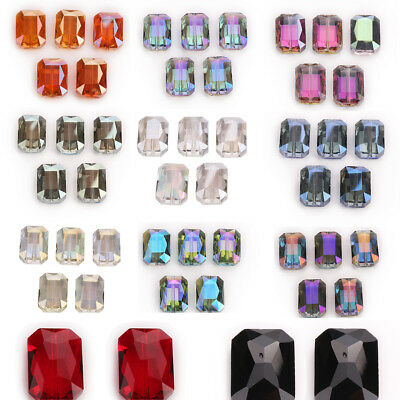 26mm 5PCS Faceted Rectangle Square Crystal Glass Loose Spacer Beads Bracelet DIY