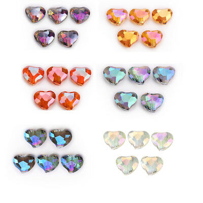 5pcs 20x16mm Faceted Heart Shape Crystal Glass Loose Spacer Beads Necklace Gifts