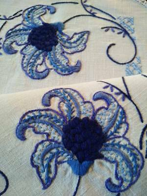 Lovely Blue Lily Flowers  ~Vintage Hand Embroidered Centre/mat