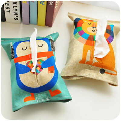 Cute Animal Cotton Linen Paper Towel Set Tissue Box Cover Home Office Supplies