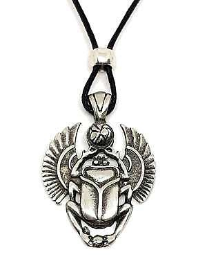 Scarab Beetle Egyptian Pendant Symbol of Long Life Beaded Cord Lace Necklace