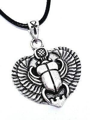 Egyptian Winged Scarab Beetle Kheper Pendant Ankh Bail Cord Necklace
