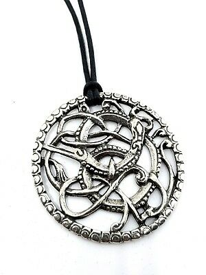 Wolf Fenrir Pendant Celtic Norse Pewter Amulet Corded Viking Necklace