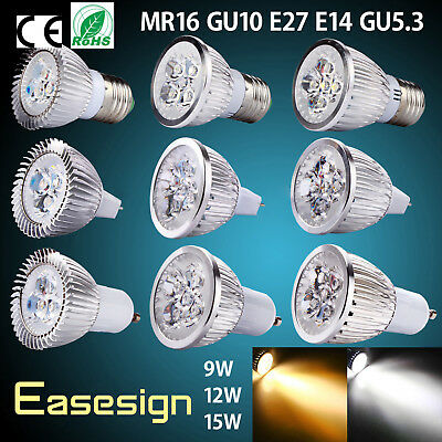 Easesign Dimmable 9W 12W 15W GU10 MR16 E27 E14 GU5.3 LED Light Bulbs Lamp Decor