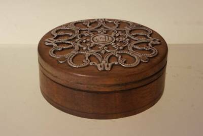 Wooden Trinket Box With Stirling Silver Patterns   E-48