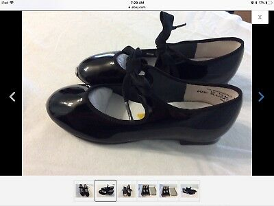 Black patent Girls' Tap Shoes Jazz size 12 1/2 M new in box