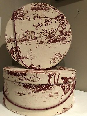 VINTAGE Red and White Toile Fabric NESTING HAT BOXES (2)