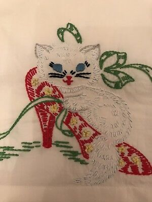Beautiful Vintage Embroidered. Kitten In A High Heel Pair Of Pillowcases.