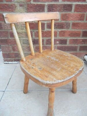 Old Vintage School hand made Child's solid Pine Chairs