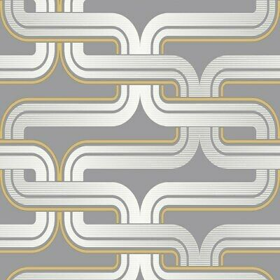 Arthouse Retro House Link Grey Yellow Wallpaper 902405. Feature Geometric Lines