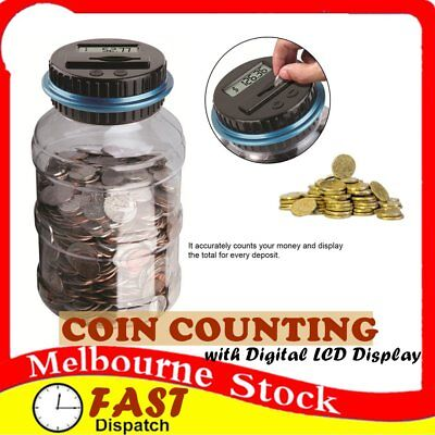 Digital LCD Money Box Bank Large Coin Counting Jar Change Counter Saving Boxes `