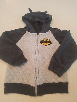 Toddler Boys Batman Hooded Hoodie Black & Gray Sweatshirt Size 4T