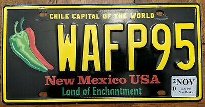 New Mexico Chile capital of the world license plate # ADRB00 NM #1 collectable
