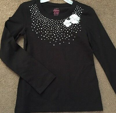 Girls Long Sleeve Shirt, Black With Silver Glitter Design,  Faded Glory Med 7/8
