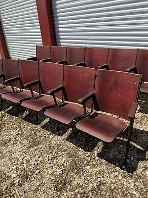 Antique Wood Theater Seats from 1924 School Auditorium