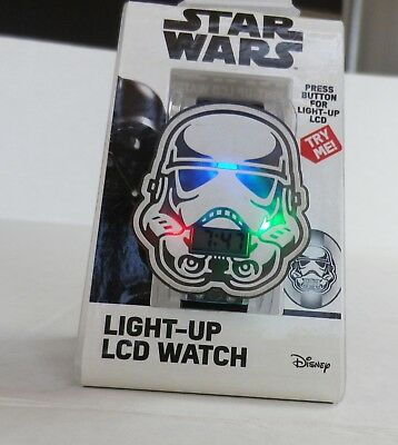 Disney Star Wars Storm Trooper Watch Flashing Lights Digital LCD Kids Watch NWT