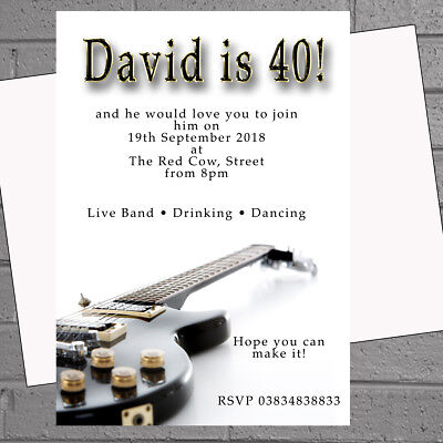 Personalised Mens Electric Guitar Birthday Party Invitations x 12 +envs H1955