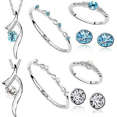 Austrian Crystal Heart 4 Piece Jewellery Set Kp28 Turquoise Clear Girls Prom
