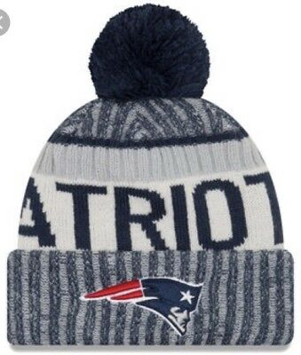 Original New Era NFL Bobble New England Patriots 2017 Sport Knit Sideline Beanie