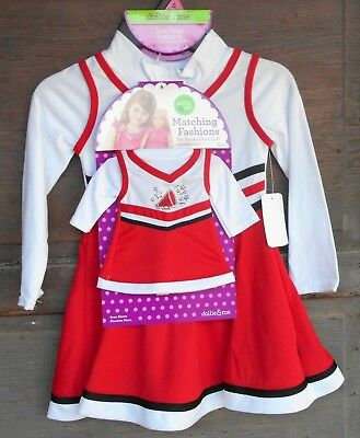 "Dollie Me Sz 4 and 18"" doll matching dress outfit  fit american girl cheerleader"