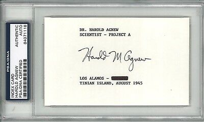 Harold Agnew Signed Index Card Psa Dna 84071118 Project A Scientist Los Alamos