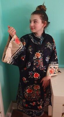 Antique Chinese  EMBRIODERED SILK ROBE, Madame Butterfly, San Francisco Tag