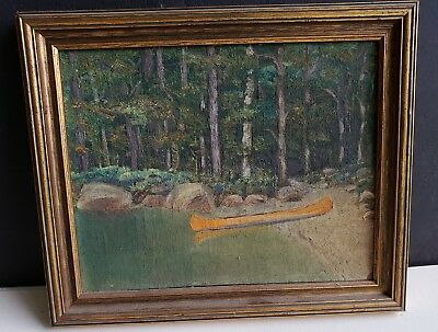3 Old Western Mountain Oil Paintings,, Signed,  Canoe at lake, Forest