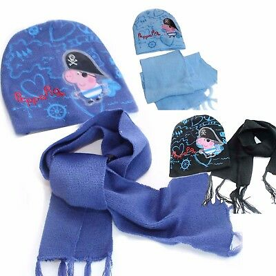 Peppa Pig Kids Winter Knitted Beanie Hat   Scarf Set Girls Boys School 3-8 a679e24ee0a5