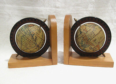 Vintage World Map Office Desk Bookends, Maple Early American Wood World Bookends