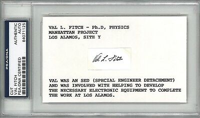 Val Fitch Signed Index Card Psa Dna 84071125 (D) Manhatten Project Los Alamos