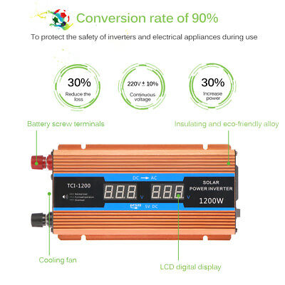 700W 1200W Peak Pure Sine Wave Power Inverter DC12V to AC 220V Converter + LCD