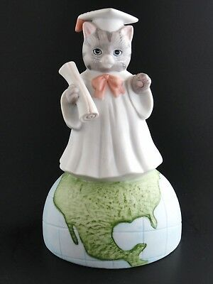 Kitty Cucumber Graduation Globe Schmid Music Box ~ Sitting On Top of The World