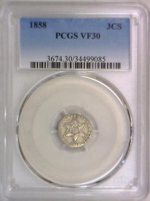 1858 Three Cent Silver PCGS VF-30
