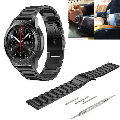 Stainless Steel Watch Strap Band Bracelet Wrist 22mm For Samsung Gear S3 Black