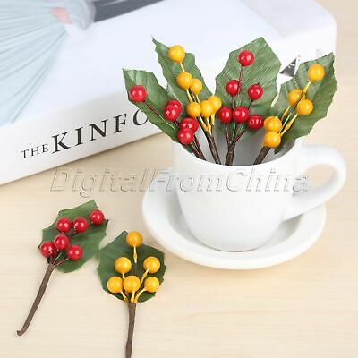 Artificial Berries Branch Leaves DIY Fake Flowers Stamens Fruits Decoration 10x