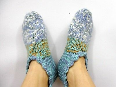 Vintage Mum Grandma Thick Hand Knitted Fair Isle Wool Socks Winter Slipper BI97