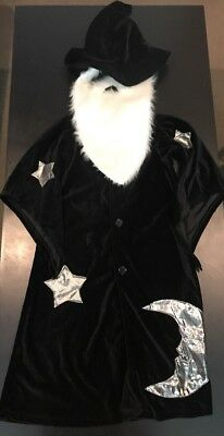 PBK Pottery Barn Kids Halloween Wizard Costume Beard Hat Gown Velvet 2T-3T EUC