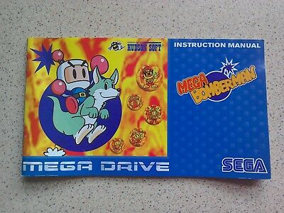 Mega BomberMan Manual - Sega Mega Drive - NO GAME MANUAL ONLY (PAL)
