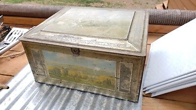 Vtg Biscuit Tin Beech Nut Canajoharie NY Mohawk Valley  Alstyne House Lithograph