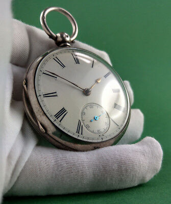 antique sterling silver pocket watch fusee Spindeluhr Chester 1871
