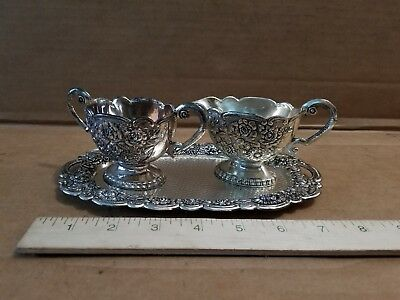 SILVERPLATE CREAMER & SUGAR BOWL WITH TRAY SET FLORAL PATTERN Vintage