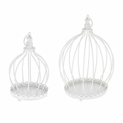 2 x  Vintage Birdcage Wedding Table Centerpiece White Metal Bird Cages.planters