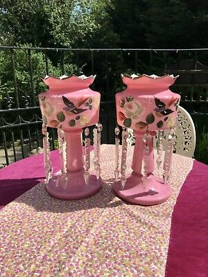 Rare pair of Antique Victorian Pink Milk Glass Lustres each with 8 Droplets
