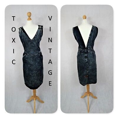 VINTAGE 1990's FADED BLACK DENIM DRESS. UK 10. ROCK GRUNGE PUNK INDIE EMO SUMMER