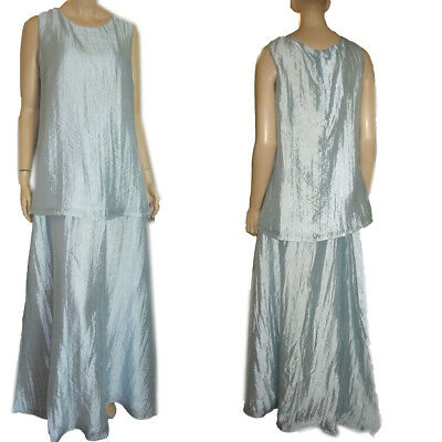 New MATERNITY FORMAL 2-PC DRESS by RAN DESIGNS Ice Blue Crinkle Silky M