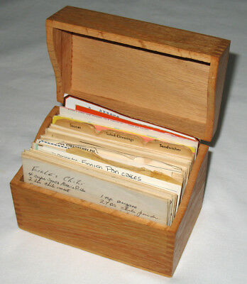 Antique OAK Dove Tail RECIPE BOX full of 250 Vintage KITCHEN Cooking RECIPES