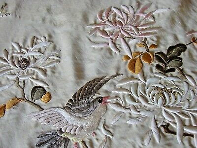 Antique Embroidered Silk Shawl Waves Bird Flower Iris Mums Aesthetic Meiji Japan