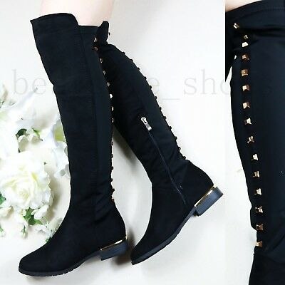 Womens Ladies Studded High Thigh Stretch Over The Knee Low Flat Heel Boots Size