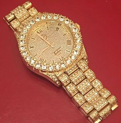 Brand New With Box Mens Gold Plated Iced Out Watch