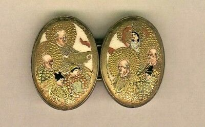 19th Century Japanese 2 Piece Ovals Buckle Lots of Heavy Gold Detail 8 People
